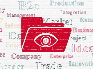 Business concept: Painted red Folder With Eye icon on White Brick wall background with  Tag Cloud