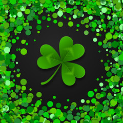 Saint Patrick s Day border with green four and tree leaf clovers on black background. Vector illustration. Party invitation design, typographic template. Lucky and success symbols.