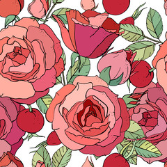 Seamless floral pattern with romantic rose flowers. Endless texture for elegant floral and season design