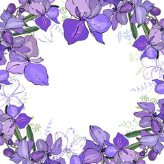 Romantic frame with orchids. Blank square template made of exotic blue flowers