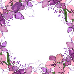 Romantic frame with orchids. Blank square template made of exotic pink flowers