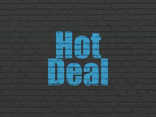 Business concept: Painted blue text Hot Deal on Black Brick wall background