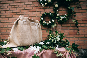 Wedding reception in vintage style and with flowers