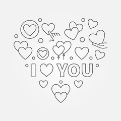 I love you vector Heart illustration in thin line style