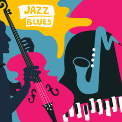 Jazz music festival poster with music instruments. Saxophone, piano and violoncello flat vector illustration. Jazz concert poster with cello player
