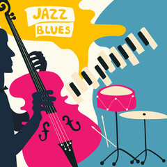 Jazz music festival poster with music instruments. Piano, violoncello and cymbals flat vector illustration. Jazz concert poster with cello player