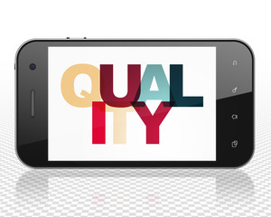 Marketing concept: Smartphone with Painted multicolor text Quality on display, 3D rendering