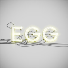 Neon electric word type, vector illustration.