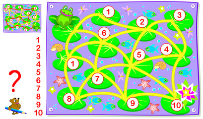 Logic puzzle game for young children with labyrinth. Draw a path for the frog to connect numbers from 1 to 10. Developing skills for counting. Vector image.