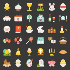 set of easter, spring and egg hunt, flat icon