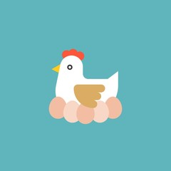 hen hatching egg, farm and agriculture concept flat icon