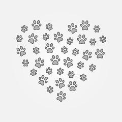 Gray pets footprints in heart shape vector illustration