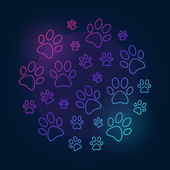 Paw prints round bright vector outline illustration