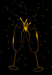 Sparking gold champagne glasses design, party background