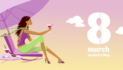 congratulations on March 8, with a woman's day, a beautiful girl sits and drinks a cocktail
