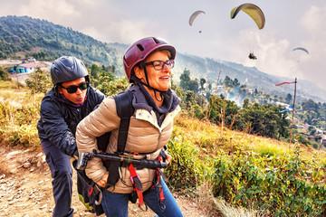 Paragliding,Training for Start, Pokhara, Nepal
