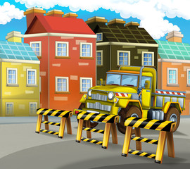 cartoon construction site car on the street in the city - illustration for children