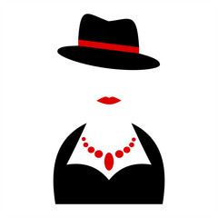 Lady Symbols. Woman Silhouettes.  Person with a hat.