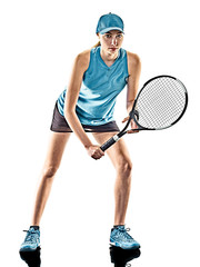one young caucasian tennis woman isolated in silhouette on white background