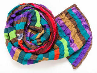 rolled stitched patchwork scarf from silk bands