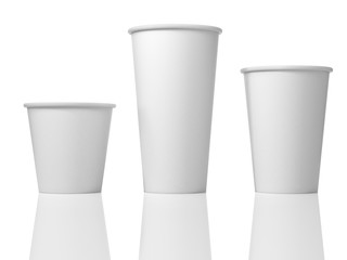 3D Illustration Of Three White Paper Cups
