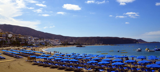 Panorama view of Las Vistas beach in Los Cristianos,Tenerife,Canary Islands, Spain.Playa de Las Vistas,Canaries.