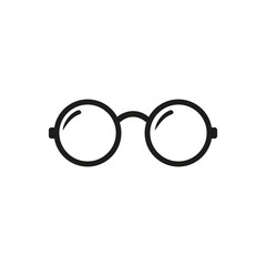 Round Glasses icon. Round Glasses Vector isolated on white background. Flat vector illustration in black. EPS 10