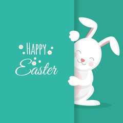 Happy easter day with easter bunny