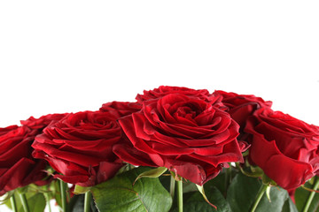 Close-up of a beautiful bouquet of red roses.