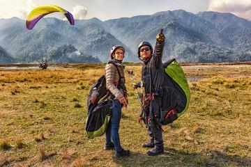 Paragliding, Landing, Pokhara, Nepal