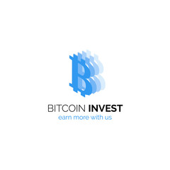 Bitcoin investment company logo design. Modern flat financial symbol on cryptocurrence theme