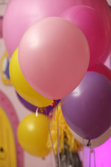 Balloons on Happy Birthday. Selective focus. Close up