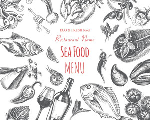 Vector illustration sketch - seafood. Card Menu restaurant. vintage design template, banner