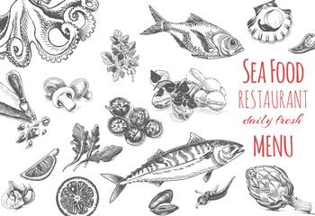 Vector illustration sketch - logo seafood. Card Menu restaurant.