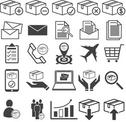 Warehouse stock, stockpile line icon set, Vector illustration EPS10