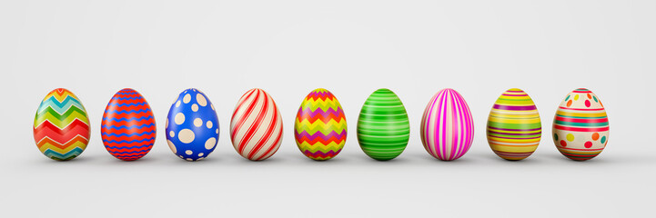 Easter eggs on a white background. Easter eggs. 3D rendering illustration.