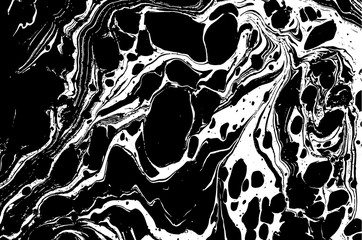 Black and white liquid texture. Watercolor hand drawn marbling illustration. Abstract vector background. Monochrome marble pattern.