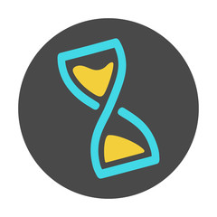 Hourglass sand clock simple round flat icon