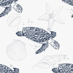 Seamless pattern with hand-drawn turtles. Sea background. Vintage background