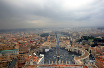 view of Rome and St Peters Square from the dome of St Peter's Basilica in Rome in Italy