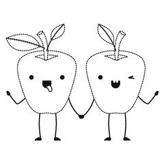 apples couple comic characters fresh fruit icon vector illustration design