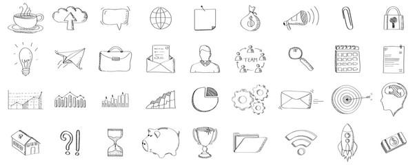 Black hand drawn web icons set