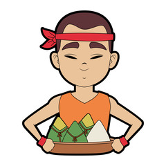 Chinese man eating rice icon vector illustration graphic design