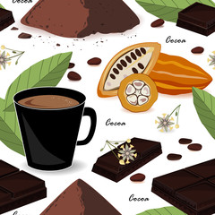 Cute and stylish cocoa seamless pattern. Cocoa beans and leaves, chocolate, cocoa drink and powder. Vector illustration