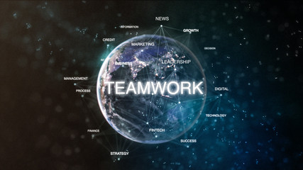 Technology earth from space word set with teamwork in focus. Futuristic financial oriented words cloud 3D illustration. Success keywords concept