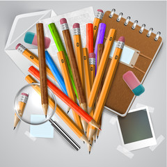 Office or school stuffs and items on white background, vector.