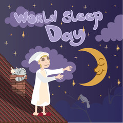 Postcard, banner or poster for the world day of sleep