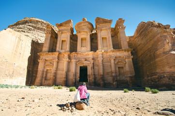 Seven wonders of new world. Petra - Jordan. Buildings in the rock. Beautiful view on a old buildings. Unesco