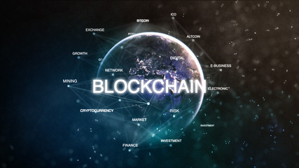 Technology earth from space word set with blockchain in focus. Futuristic bitcoin cryptocurrency oriented words cloud 3D illustration. Crypto e-business keywords concept