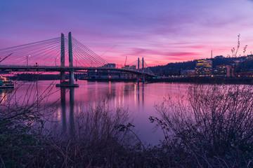 Tilikum Bridge in Portland Oregon at sunset